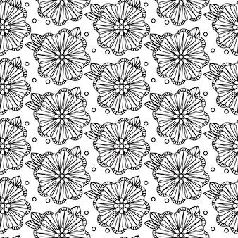 Patrón blanco y negro sin costura zentangle