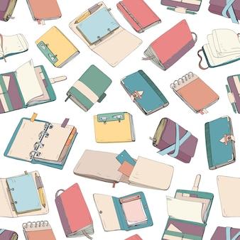 Patrón con bloc de notas, cuaderno, diarios, cuadernos de bocetos dibujados a mano sobre fondo blanco.