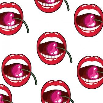 Patrón de boca femenina goteando con cereza.