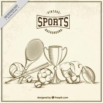 Patrón de bocetos de elementos de deporte