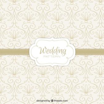 Patrón de boda dibujado a mano con detalles florales