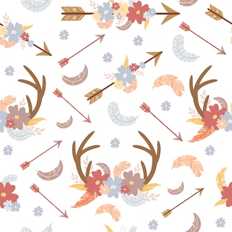 Patrón boho con flechas y cuernos