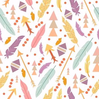 Patrón boho formas geométricas y plumas
