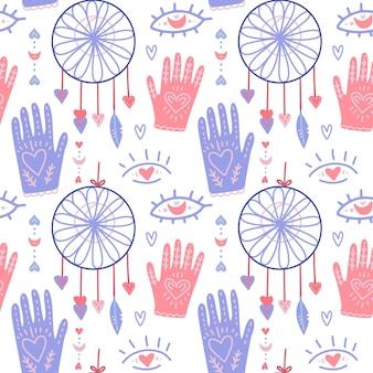 Patrón de boho con lindas manos y luna, atrapasueños. doodle estilo moderno