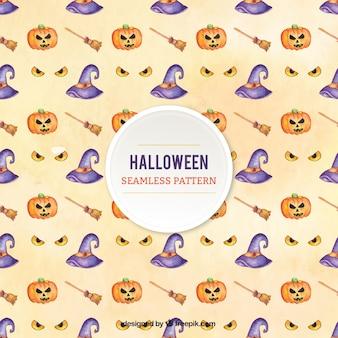 Patrón bonito con elementos de halloween en estilo de acuarela