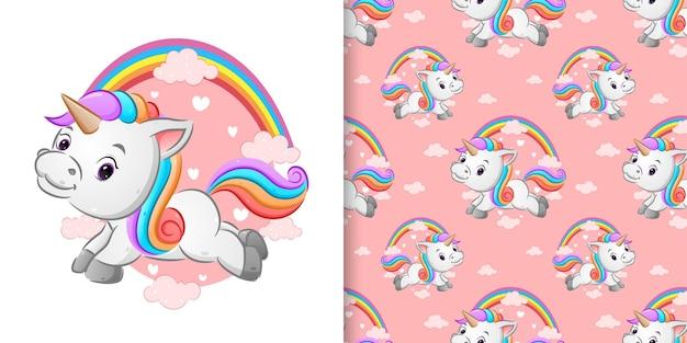 Patrón del bonito unicornio colorido está volando en el hermoso cielo