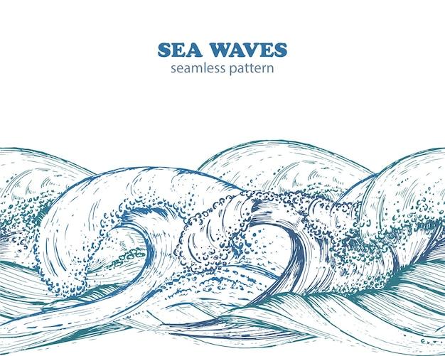 Patrón de borde transparente con olas del mar dibujadas a mano en estilo boceto.