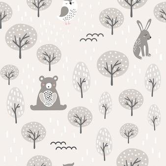 Patrón de bosque semless con lindo oso, búho, liebre.