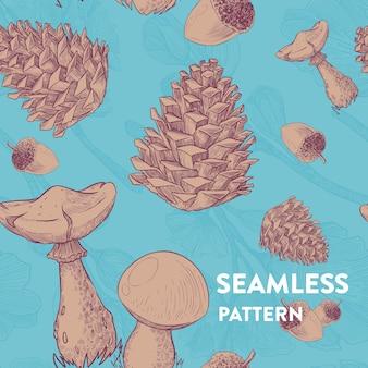 Patrón de bosque transparente de moda con setas, estrobos y bellotas