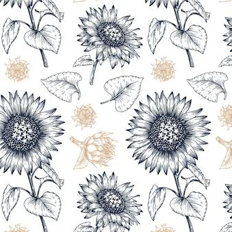 Patrón botánico de estilo grabado