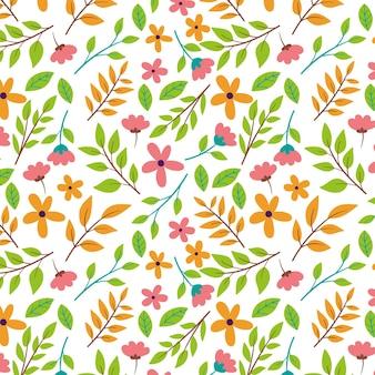 Patrón botánico con flores y hojas.