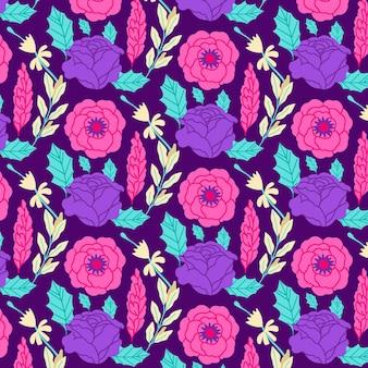 Patrón botánico con flores.