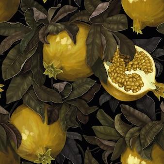 Patrón botánico. granadas jugosas en hojas verdes