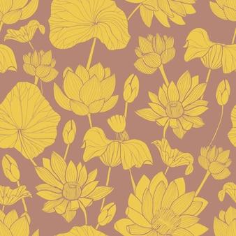 Patrón botánico con hermosa flor de loto amarillo dibujado a mano sobre fondo marrón.