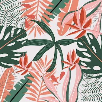 Patrón botánico con hojas tropicales.