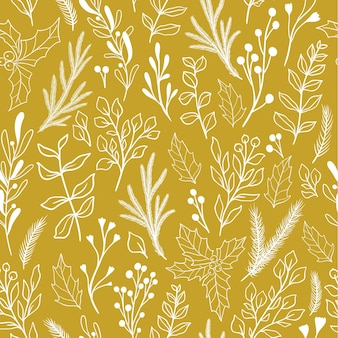 Patrón botánico transparente de invierno con plantas y bayas de navidad, muérdago, eucalipto, flor de pascua, acebo. patrón de tela de doodle vintage, papel de regalo de año nuevo. ilustración de vector de estilo rústico.