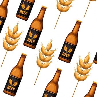 Patrón de botella de cerveza icono aislado