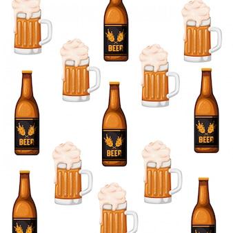 Patrón de botella de cerveza y vidrio icono