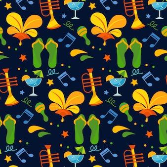 Patrón brasileño para fiesta con notas musicales y accesorios de playa.