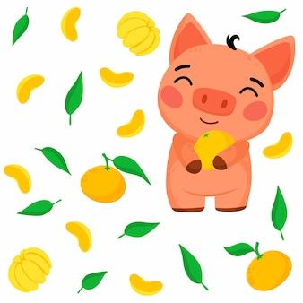 Patrón brillante con ilustración de cerdito y mandarina