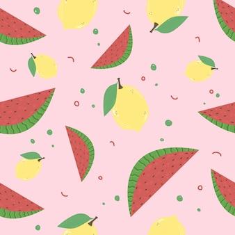 Patrón brillante con limones y sandías sobre un fondo rosa. .