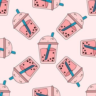Patrón brillante transparente burbuja té fruta verano bebida kawaii rosa
