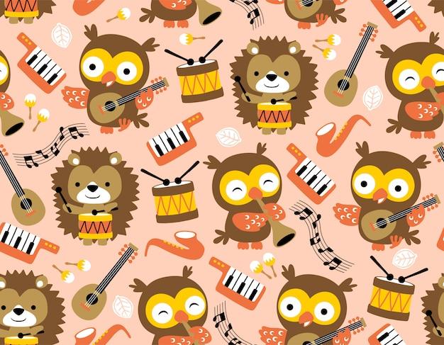 Patrón de búho y erizo con instrumentos musicales.