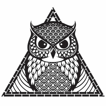Patrón de búho tribal triángulo