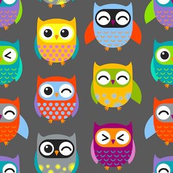 Patrón de búhos coloridos
