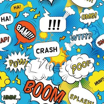 Patrón de burbujas cómicas con palabras emocionales y sonidos planos sin costura
