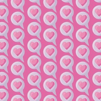 Patrón de burbujas de discurso con corazón amor