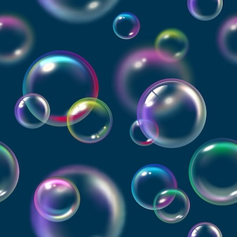Patrón de burbujas. jabón líquido flotador espuma agua textura vector burbujas de patrones sin fisuras. ilustración de patrón de jabón de espuma o burbujas de aire