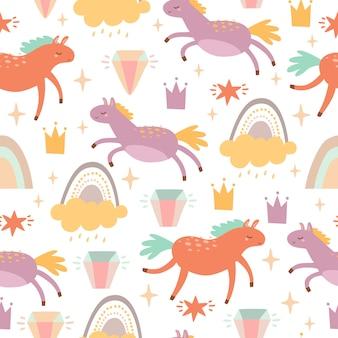 Patrón con caballos y arcoiris