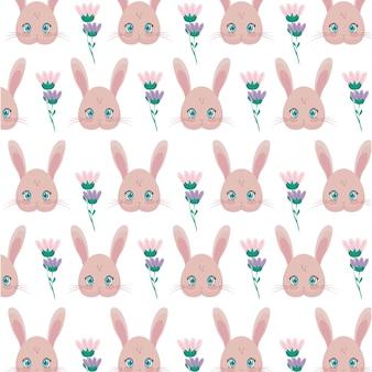 Patrón de cabezas de conejos con flores.
