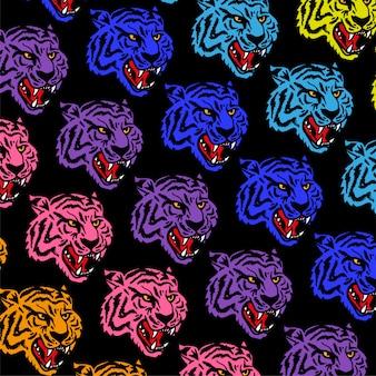 Patrón con cabezas de neón enojado tigre salvaje