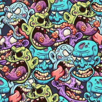 Patrón de cabezas de zombie