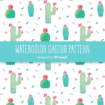 Patrón cactus acuarela