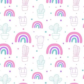 Patrón de cactus y arcoiris