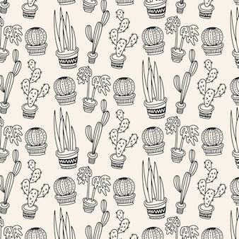 Patrón de cactus blanco y negro