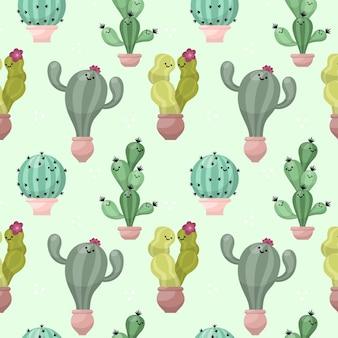 Patrón de cactus colorido ilustrado