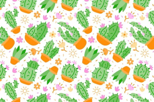 Patrón de cactus colorido plano