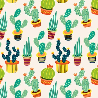 Patrón de cactus colorido