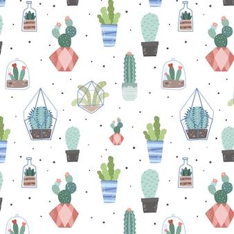 Patrón de cactus creativo acuarela