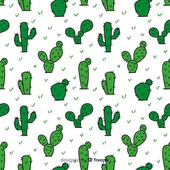 Patrón cactus dibujado a mano