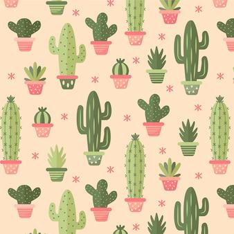 Patrón de cactus dibujado a mano