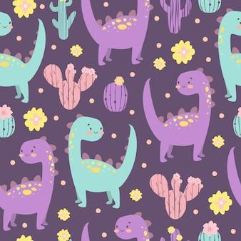 Patrón de cactus y dinosaurios