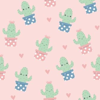 Patrón de cactus feliz