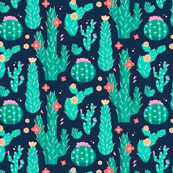 Patrón de cactus con flores