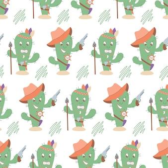 Patrón de cactus inconsútil occidental divertido. personajes de sheriff y cactus indios. adecuado para lino pastel, decoración del hogar, textiles.