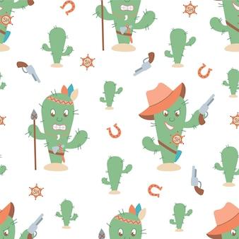Patrón de cactus inconsútil occidental divertido. personajes de sheriff y cactus indios. ilustración vectorial de dibujos animados.